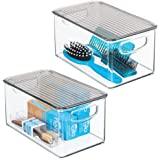 mDesign Plastic Bathroom Storage Bin with Handles, Lid - Holds Soap, Body Wash, Shampoo, Lotion, Conditioner, Hand Towels, Ha