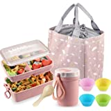 Bento Box Japanese Lunch Box Kit, Iteryn Stackable 2 Layer Bento Lunch Box for Adult Kids, Leakproof Wheat Straw BPA Free Lun