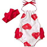 Infant Baby Girl Valentine's Day Outfit Red Heart Print Romper Sleeveless Bodysuit with Headband