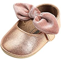 Weixinbuy Baby Girls' Anti-Slip Soft Sole Bowknot Decor Princess Shoes Mary Jane Flats