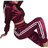 RkBaoye Women's Active High Waisted Crop Top Satin Stylish Activewear Set