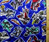 新幹線変形ロボ シンカリオン 2点(レッスンバッグまたはピアニカ入れ・シューズ入れ) が作れる材料セット(紺)#2 キルティング レシピ付き(テープの色は紺となります)<初心者でも簡単なキャラクター生地セットです!>