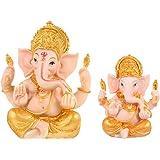 Cabilock 2pcs Ganesha Statue Home Decoration Elephant God Ganesh Statues Hindu Ganesha Figurine Meditation Decoration Gold