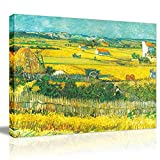 Van Gogh Canvas Prints Framed- Harvest at La Crau Giclee Farm Oil Painting Wall Arts with Gold Corn Field Stretched Removable Wall Picture Illuminative Art Painting for Home Office Decor-16×12""