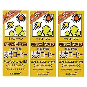 キッコーマン カロリー45% オフ豆乳飲料麦芽コーヒー 200ml×3本
