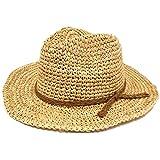ハッピーハット つば広 ラフィア中折れハット 麦わら テンガロン 天然素材 hat-1229-01 ナチュラル