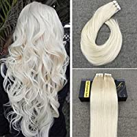 Ugeat 14 inch Tape in Remy Hair Extensions Skin Weft Real Hair Extensions White Blonde Human Hair Seamless Tape on Extensions 40pcs/100g [並行輸入品]