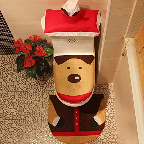 クリスマス 飾りイレマット 便座カバー 3点セット 家庭用 ホテル用