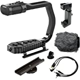 Sevenoak MicRig Universal Video Grip Handle with Integrated Stereo Microphone, Windscreen, Bonus Shoe Extender Bracket for DS
