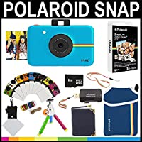 Polaroid Snap Instant Camera (Blue) + 2x3 Zink Paper (30 Pack) + Neoprene Pouch + Photo Frames + Photo Album + 8GB Memory Card + Accessory Bundle
