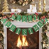 Merry クリスマスバナー 黄麻布クリスマスバナーガーランド クリスマスデコレーション ホームデコレーション クリスマスパーティー写真小道具 TD038