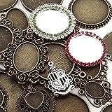ミール皿 +宝石風ミール皿+銀の紋章チャーム 30個セット 金古美 レジンアクセサリー アンティークゴールド ハンドメイド パーツ 詰め合わせ 福袋