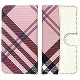 スマホゴ 手帳型 [iPhone8] チェック柄×レザー PU手帳 ピンク×ホワイトレザー ベルトあり 手帳型 カード収納付き スマホケース