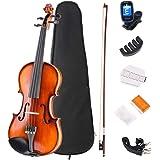 JMFinger 4/4 Full Size Vilion Set, Handcrafted Kids Starters Acoustic Violin Beginner Kit with Hard Foamed Case, Bow, Rosin