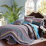 gardenlightess ベッドカバー ベッドスプレッド マルチ カバー キルト おしゃれ ダブル 綿100% 3点セット ストライブ ブルー