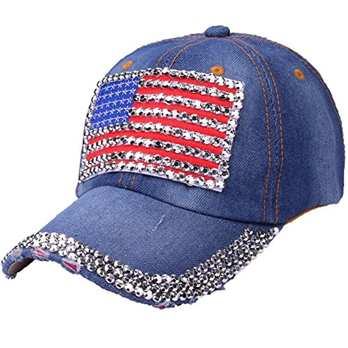 スリップ方言させるRacazing Cap カウボーイ 野球帽 ヒップホップ 通気性のある ラインストーン 帽子 夏 登山 アメリカの旗 可調整可能 棒球帽 男女兼用 UV 帽子 軽量 屋外 ジーンズ Unisex Cap (C)