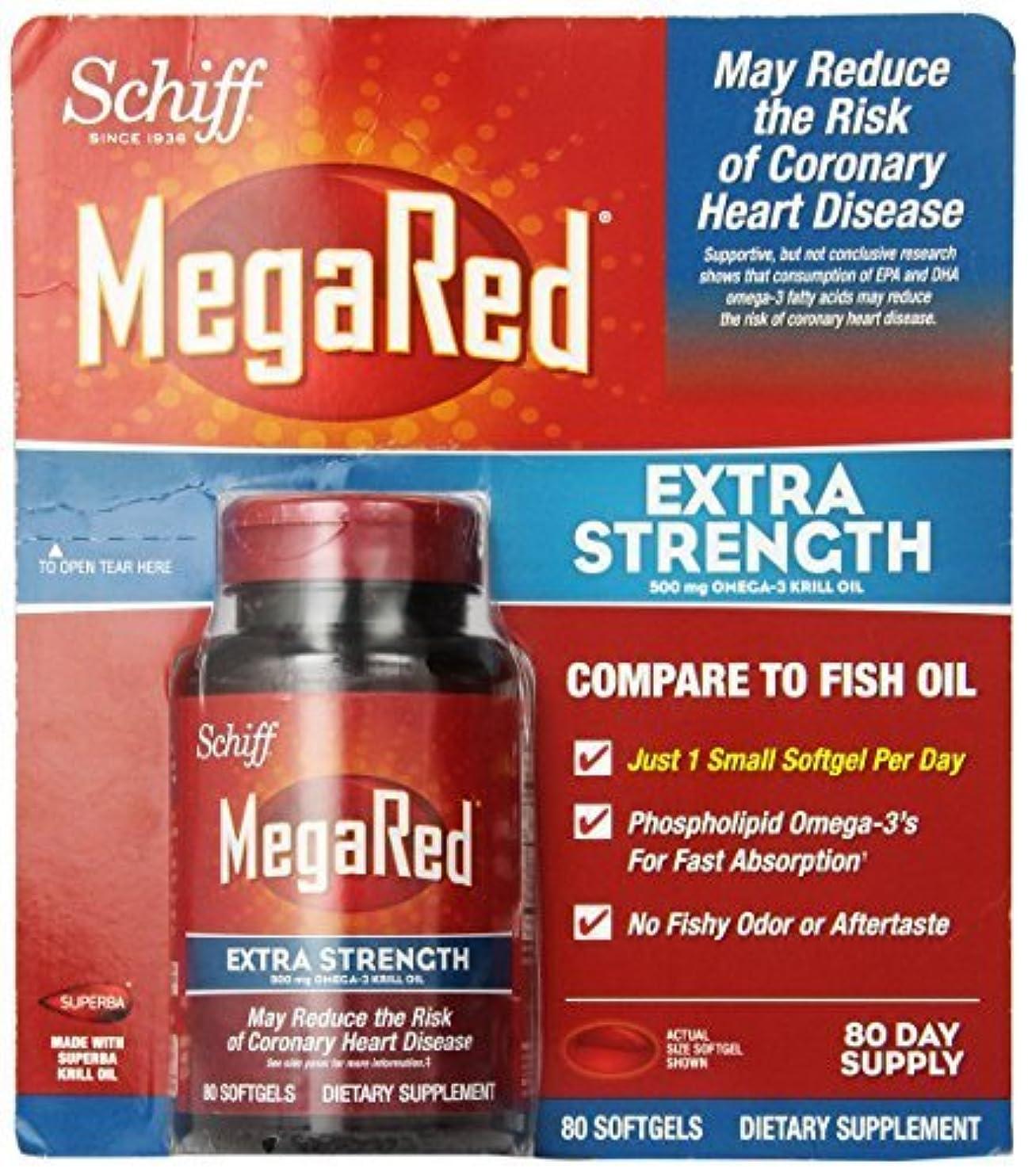 電話にじみ出る側Schiff MegaRed Extra Strength 500mg Omega 3 Krill Oil Softgel, (80 ct) by Megared [並行輸入品]