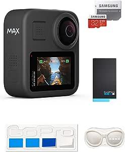【GoPro公式限定】 GoPro MAX + 予備バッテリー + 認定SDカード32GB + GoPro公式限定非売品 メガホルダー(白) & ステッカー【国内正規品】