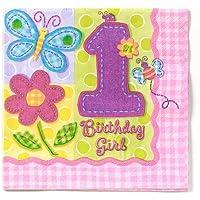 Hugs & Stitches Girl's 1st Birthday Napkins ハグ&ステッチガールの第1誕生日のナプキン?ハロウィン?クリスマス?