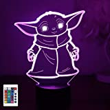 Baby Yoda 3D Night Light, 3D Led Illusion Lamp, 7 Color Change Decor Lamp Touch Table Desk Light with Remote Control, Gifts T