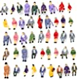 CWBPING 50pcs 1:87 HO Scale Tiny People Model People Hand Painted Model Train Park Street Passenger People Figure Sitting Pos