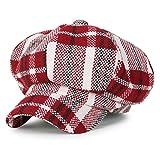 (イリリリー) ililily タータン チェック柄 ウール混 ニュースボーイハット ダックビル アイビー ゴルフ フラットキャップ キャスケット帽, Red Tartan Checkered