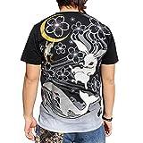 【T181-8】和柄 Tシャツ 和柄刺繍半袖Tシャツ 赤眼兎柄ちきりや和柄 半袖Tシャツ!!和柄 メンズ tシャツ和柄刺繍Tシャツ (L, 黒)