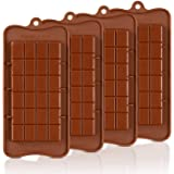 Chocolate Molds Silicone - Candy Molds Break-Apart Silicone Chocolate Molds Protein and Engery Bar Silicone Molds Pack of 4