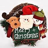 Menstime(メンズタイム)クリスマスリース 可愛いデザイン サンタ スノーマン エルク揃い Merry Christmas インテリア用 部屋 玄関 飾り アクセサリー 贈り物 Xmas 飾り 35cm (35cm)
