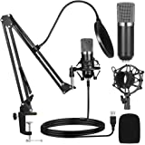 Ankuka USB Condenser Microphone, Podcast Microphone Kit for Recording or Gaming, Plug & Play Cardioid Condenser PC Mic with B