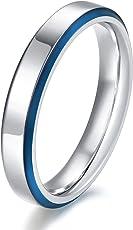 TICENTRAL ステンレス リング 鏡面加工 細身 平打ち 幅4mm シンプル 指輪 メンズ レディース ピンキーリング
