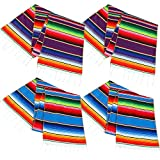 Aneco 4 Pack 14 by 84 Inch Mexican Table Runner Mexican Serape Blanket Cotton Colorful Fringe Table Runners for Mexican Party Wedding Kitchen Outdoor Decorations