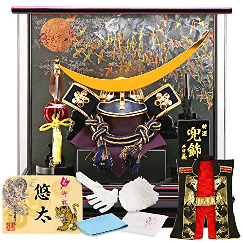 五月人形 兜 ケース 飾り 三日月 平安義正 15号 群鶴 ...