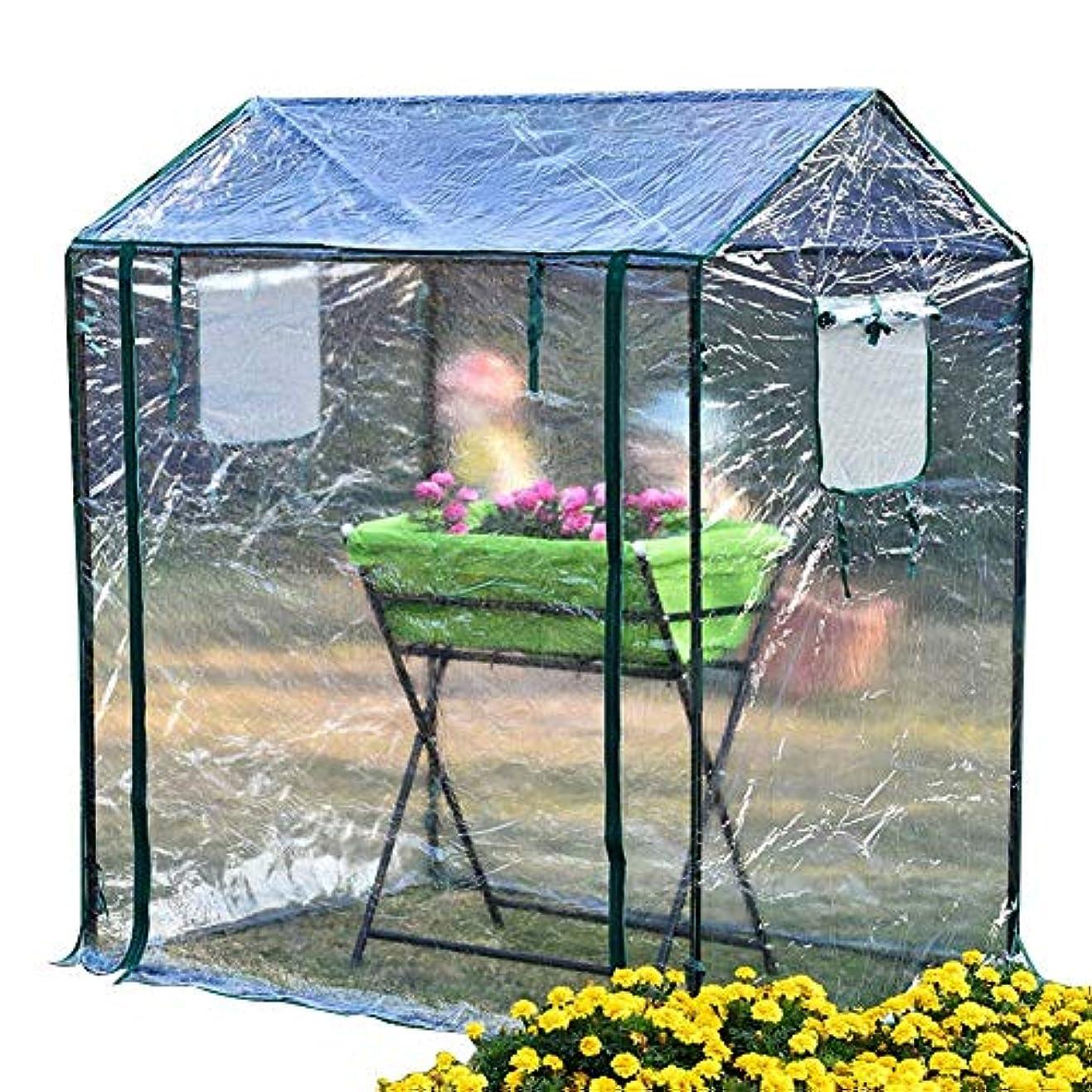 危険にさらされている抜粋遺跡家庭用温室小さな花小屋プラスチック布不凍液断熱冬バルコニー庭の植物花棚シェルター125×85×150センチ