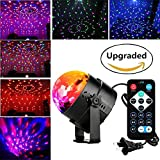 Blingco ミニレーザーステージライト フルカラーLED回転水晶魔球 音声起動ステージ照明 自走機能付き ディスコ/ステージ/カラオケ/MTV/DJ/グラブ/パティー用 3W RGB リモコン付き ブラック