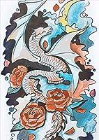 ポスター ウォールステッカー シール式ステッカー 飾り 297×420㎜ A3 写真 フォト 壁 インテリア おしゃれ 剥がせる wall sticker poster pa3wsxxxxx-014798-ds 龍 模様 バラ
