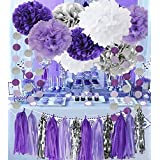 Bridal Shower Decorations Purple White Silver TIssue Pom Pom Amaranth Purple Silver Circle Paper Garland for Baby Shower Decorations/Birthday Decorations [並行輸入品]