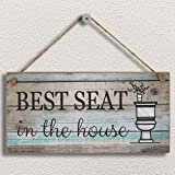 "Yankario Funny Bathroom Wall Decor Sign, Farmhouse Rustic Bathroom Decorations Wall Art , 12"" by 6"" Best Seat Wood Plaque"