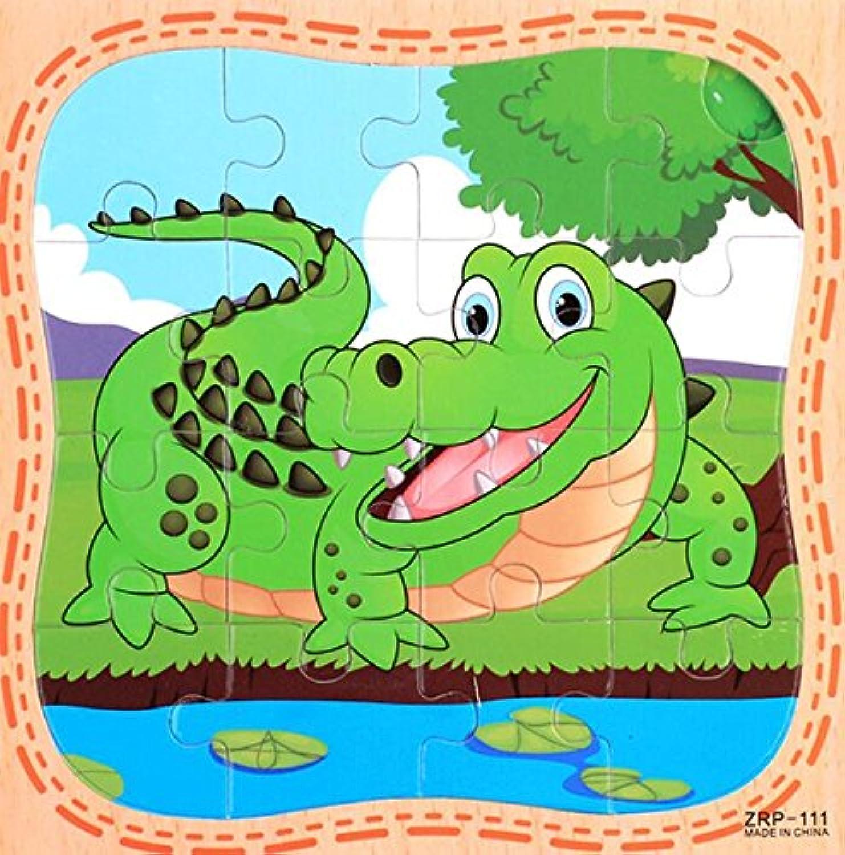 HuaQingPiJu-JP 創造的な木製動物の教育パズルアーリーラーニング番号の形の色の動物のおもちゃキッズのための素晴らしいギフト