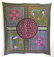 ビンテージシピボインディアンアート 手刺繍 Ayahuasca テキスタイル 布タペストリー テーブルカバー 61インチ x 57インチ