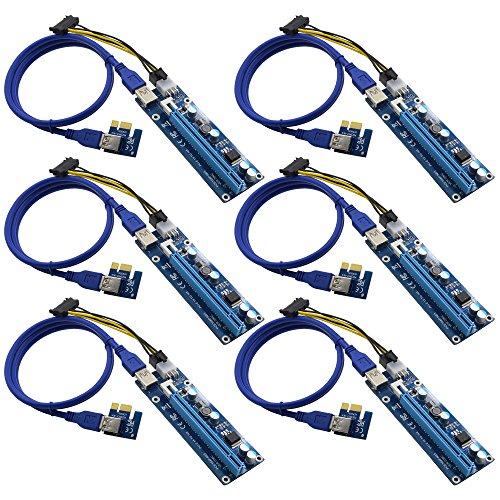 6個セット PCI-E ライザーカード PCI-E Express 1 x 16x グラフィックカード アダプター 006C型 USB3.0ケーブル SATA 15ピン 6ピン 電源ケーブル ビットコイン採掘 riser card vivostec