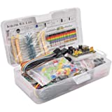 Iycorish Electronics Component Basic Starter Kit with 830 Tie-Points Breadboard Cable Resistor Capacitor LED Potentiometer wi