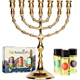 HalleluYAH Menorah 7 Branched Candelabra Plus Anointing Oil from Israel - Design w/Jerusalem Engraved on The Base - Judeo-Chr