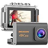 【新型】MUSON(ムソン) アクションカメラ 4K高画質 2000万画素 手振れ補正 WiFi搭載 外部マイク対応 3…