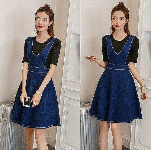 [해외]신품 데님 원피스 무지 플레어 V 넥 블루/New item denim dress plain flare V neck blue