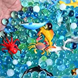 Water Beads Sea Animals Tactile Sensory Experience Kit - 24 Realistic Deep Sea Animal Figures Educational Toys & 5 Colors Sensory Water Gel Bead for Kids 3+