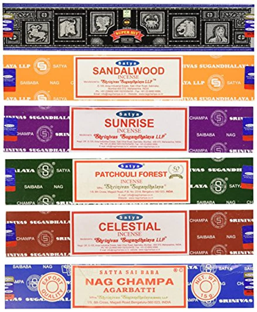 こどもの宮殿ニンニクスコットランド人Set of 6 Nag Champa Sunrise Sandalwood Patchouli Celestial Super Hit by Satya