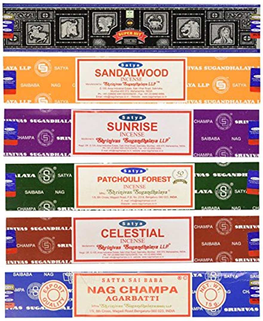 ストレージツイン悲劇Set of 6 Nag Champa Sunrise Sandalwood Patchouli Celestial Super Hit by Satya