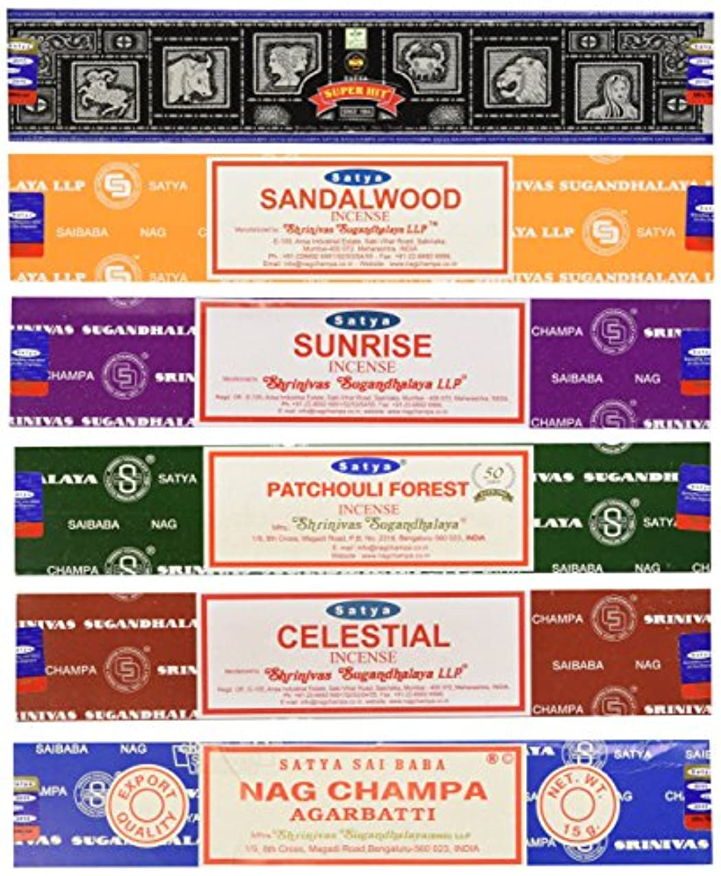 委任する認証触覚Set of 6 Nag Champa Sunrise Sandalwood Patchouli Celestial Super Hit by Satya