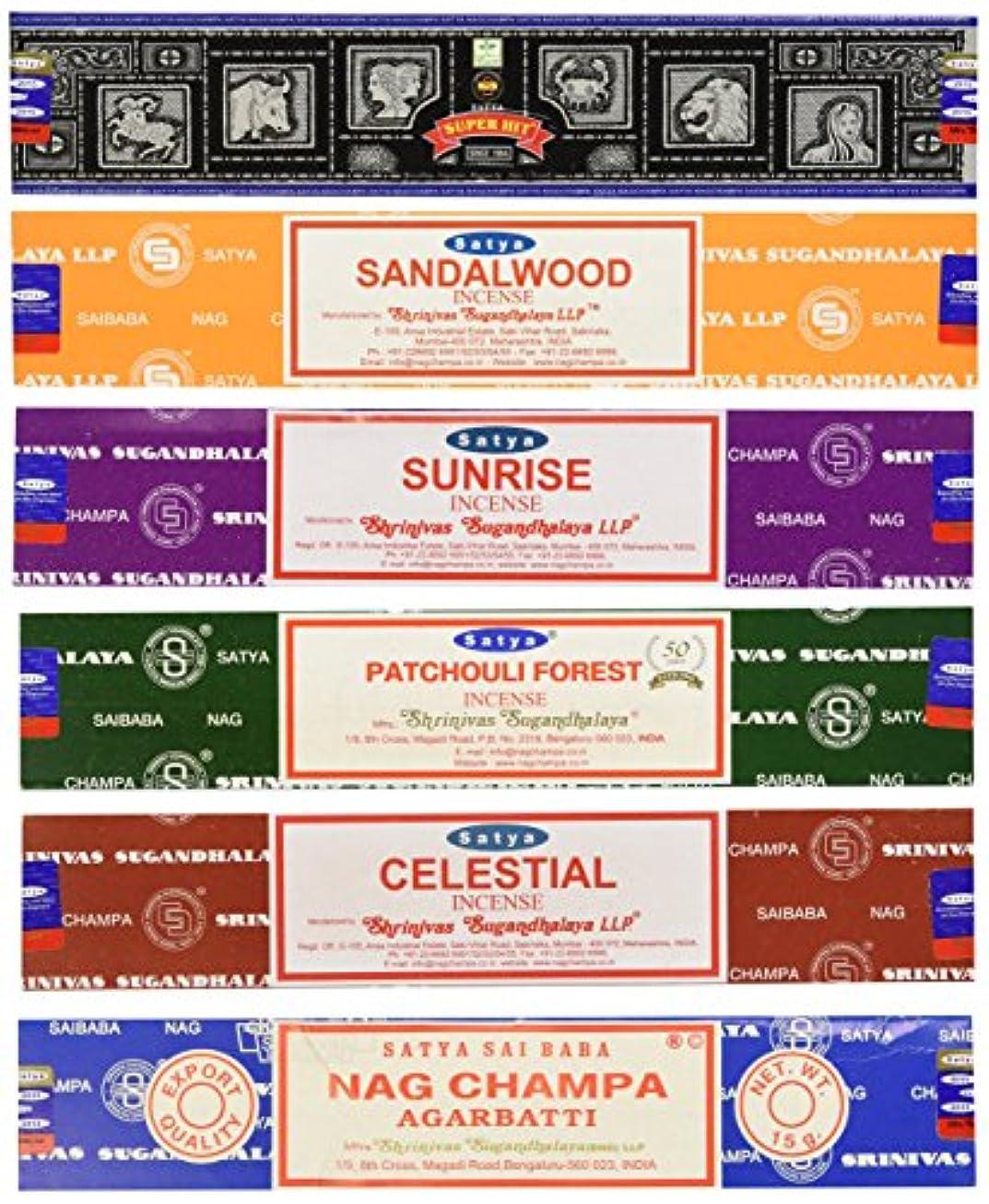 ラケット交響曲マティスSet of 6 Nag Champa Sunrise Sandalwood Patchouli Celestial Super Hit by Satya